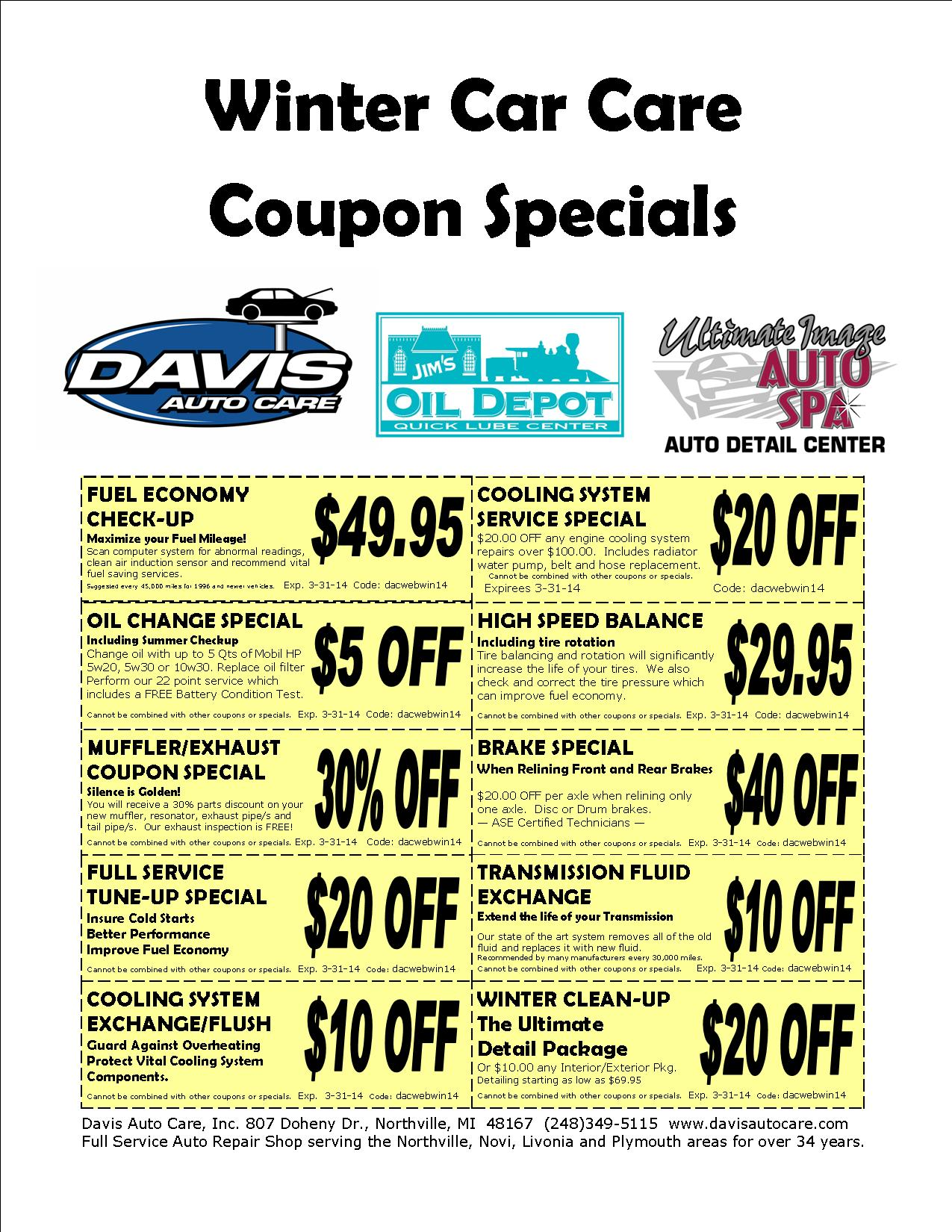 auto repair and service coupon specials davis auto care northville 48167. Black Bedroom Furniture Sets. Home Design Ideas